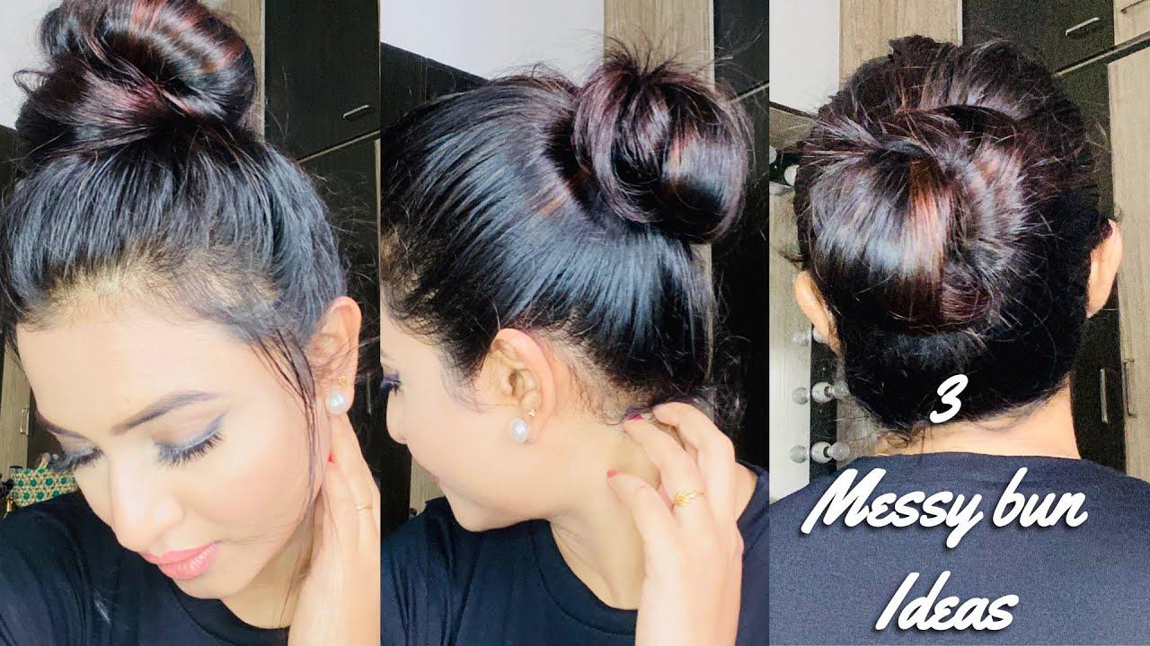 3 Messy Bun Ideas - #Hairtutorial #JananiAshokkumar