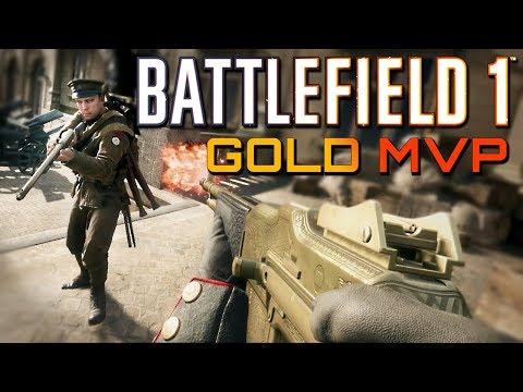 Battlefield 1: Gold Gun MVP - Support on Ballroom Blitz (PS4 PRO Multiplayer Gameplay)