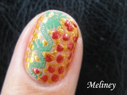 Hidden Dragon Nails Chinese New Year Nail Art Design For Short