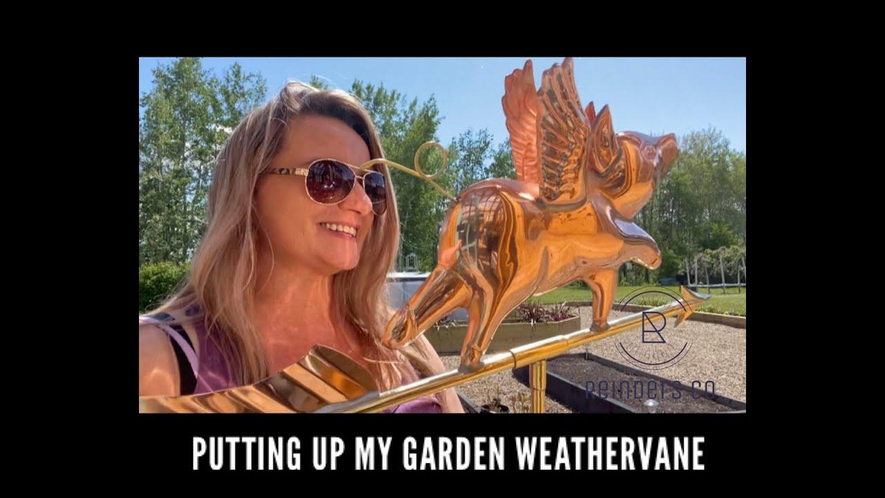 """Installing my garden weathervane """"when pigs fly"""""""