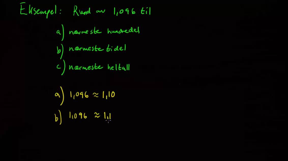 α00169: Tall og tallregning - Avrunding av desimaltall