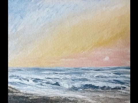 """""""Ocean Sunrise,"""" Cape Hatteras, NC—Real Time Acrylic Seascape Painting Tutorial with Instructions!"""