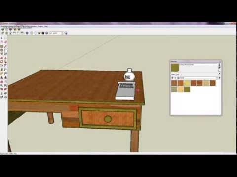 Google SketchUp 6 built study table - YouTube