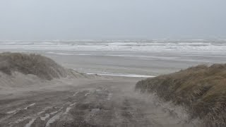 Storm Terschelling 3 januari 2018, strand en aankomst Friesland