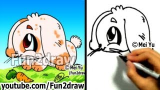 How to Draw a Bunny - Draw Animals - Easy Drawings - Fun2draw