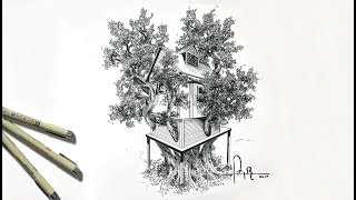 How to draw and shade a treehouse with pencil and ink for beginners