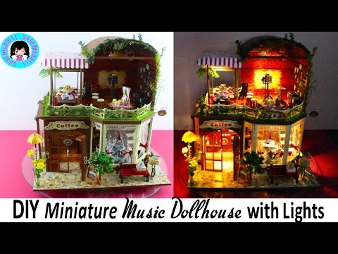 DIY Miniature Doll House Coffee Shop~ tiny details with music and LED Lights! ミニチュアドールハウス 소형 인형의 집