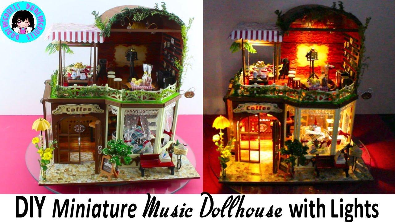 Diy Miniature Music Dollhouse Coffee Shop With Led Lights