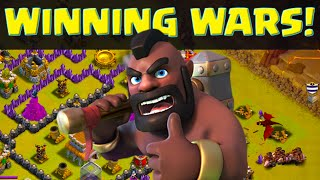 Clash of Clans - Winning Wars! Attacking Supermax Bases and More Hogs!