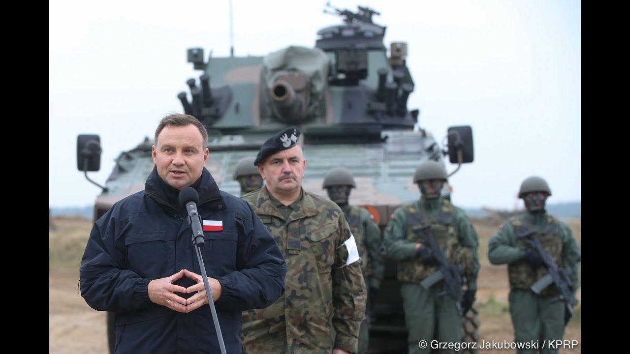 Prezydent Andrzej Duda na manewrach Dragon -17