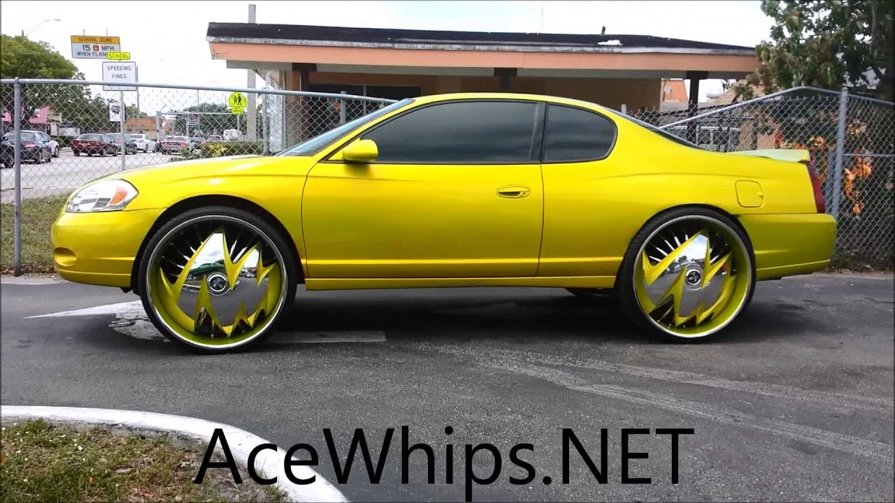 """AceWhips NET Candy Lime Gold Chevy Monte Carlo on 28"""" DUB Zig Zag"""