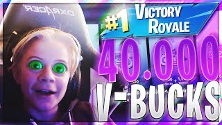 MY LITTLE BROTHER GETS 40.000 V-BUCKS IF HE WINS A FORTNITE GAME!!!