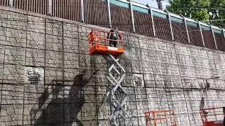 고고크린   벽화작업전 벽면 물청소
