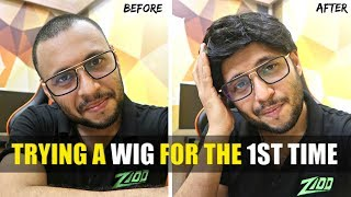TRYING A HAIR WIG FOR THE 1ST TIME !!!