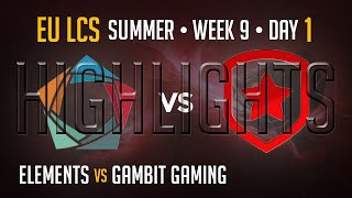 Elements vs Gambit Gaming HIGHLIGHTS | Week 9 Day 1 EU LCS Summer Split 2015 S5 | EL vs GMB W9D1