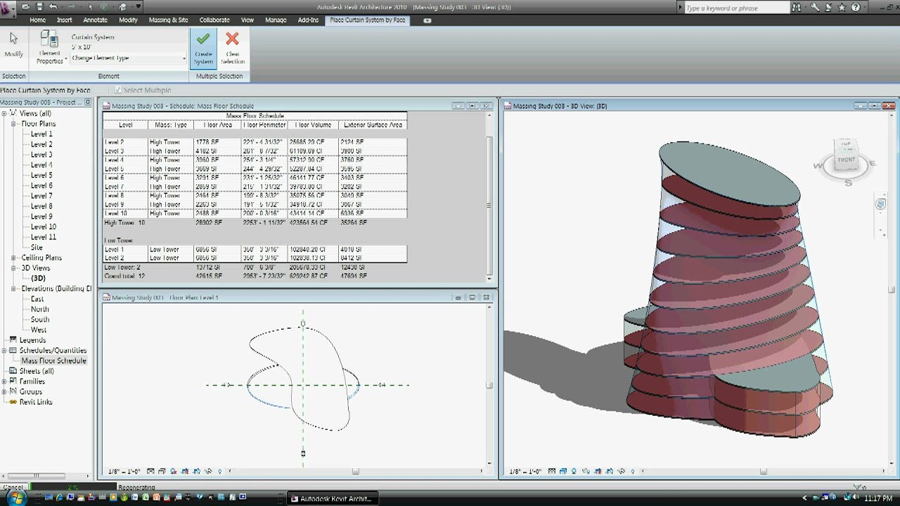 Massing Study In Revit Architecture 2010 July 7 2009