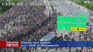 BREAKING: Semi-Truck Appears To Drive Through Protest Marchers On I-35W Bridge