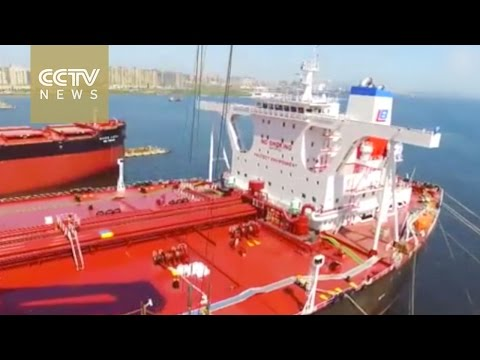 Made in China, one of the world's largest oil tankers tested