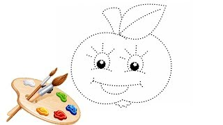 Coloring by dots-Funny apple.For babies.How to draw.learn colors.