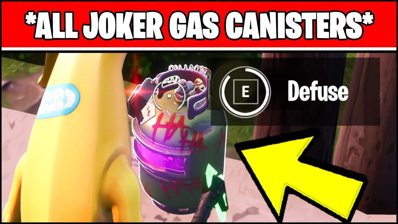 Defuse Joker Gas Canisters Found In Different Named Locations Fortnite Batman Challenges