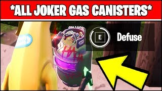 DEFUSE JOKER GAS CANISTERS FOUND IN DIFFERENT NAMED LOCATIONS (Fortnite BATMAN Challenges)