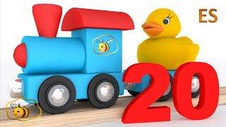 Los números en espanol para niños. Aprende a contar del 1 al 20 con el tren y el patito de goma