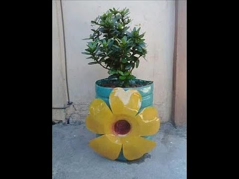 Diy 4 Beautiful Pot With Flower Design From Plastic Bottle