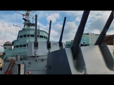 """HMS Belfast"", ""Imperial War Museum"", On the River Thames. London. England"