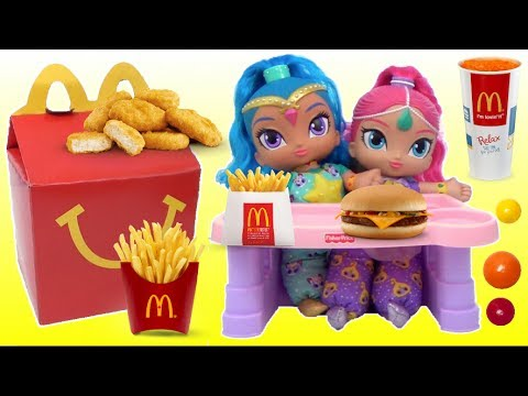 Best Learn Colors Videos BABY SHIMMER AND SHINE Eats McDonald's Happy Meal LOL SURPRISE DOLLS
