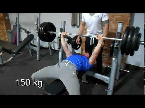 Bench Press 150 kg (form isn't perfect)   BW 78,5
