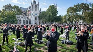 video: Watch: 400 musicians take part in socially distanced performance protest