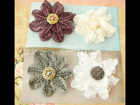DIY:Easy to make Lace trim flowers tutorial by SaCrafters