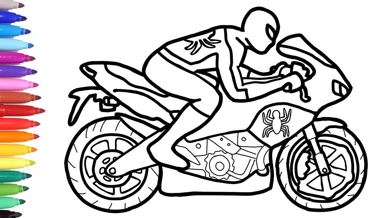 Spiderman Motorcycle Coloring Pages, Superheroes Motorbike, Bike Coloring  Video for Kids
