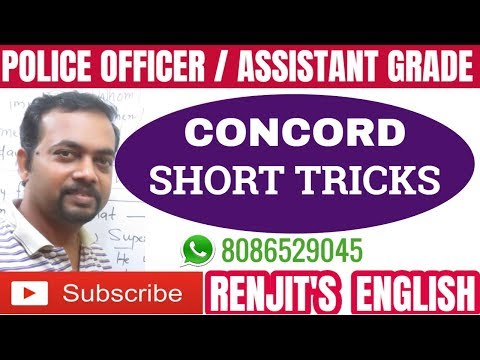 Kerala PSC || Concord || Short cut method || Civil Police Officer || Assistant Grade || English