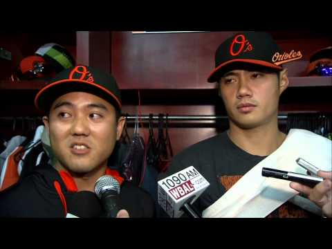 Wei-Yin Chen chats after his win against the Mariners
