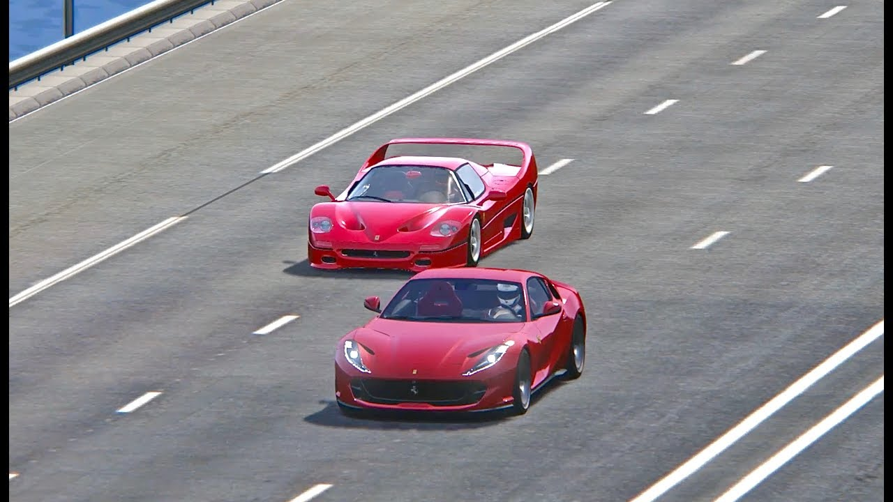 Ferrari 812 Superfast Vs Ferrari F50 Top Speed Battle Youtube
