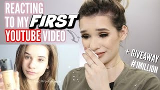 reacting to my first youtube video ever emotional giveaway