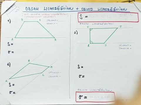 Čtyřúhelník 123  obsah a obvod lichoběžníku