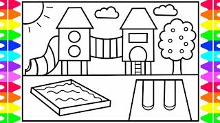 How to Draw a Playground Step by Step for Kids | Playground Coloring Pages | Fun Coloring Pages Kids