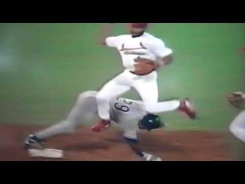 Ozzie Smith Flies Over Lenny Harris To Complete Double Play!