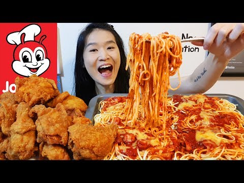 JOLLIBEE FEAST!! Giant Spaghetti Platter & Spicy Chicken Joy