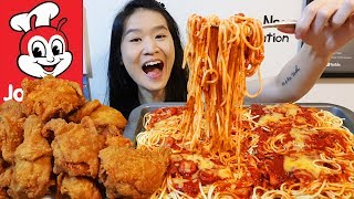 JOLLIBEE FEAST!! Giant Spaghetti Platter & Spicy Chicken Joy | Fried Chicken Mukbang w Eating Sounds