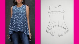 Gathered Yoke Neckline Top | How to make Designer Top (Part 1 - Cutting )