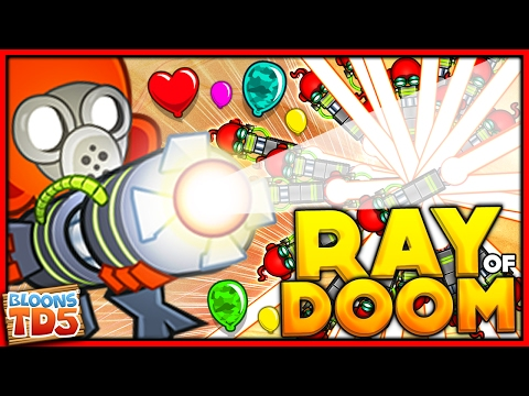 THE RAY OF DOOM ONLY CHALLENGE & HACKING A 4-4 ULTRA GUN in BTD 5!! (Bloons Tower Defense 5)