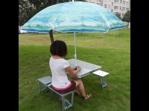 Aluminium Picnic Table with umbrella opening all types