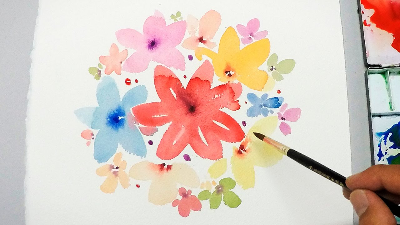 LVL1 Watercolor Tutorial Painting Easy Simple Flowers
