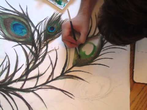 Speed Painting 3 Peacock Feather Youtube