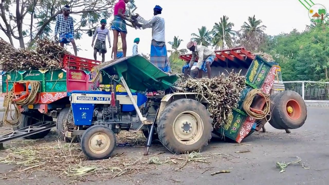 Swaraj 744 FE Tractor Accident with Sugarcane trolley | Tractor Video
