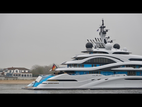 4K | Mega Yacht Project JUPITER on the way to North Sea - short views