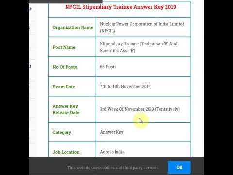 NPCIL Stipendiary Trainee Answer Key 2019 PDF Download